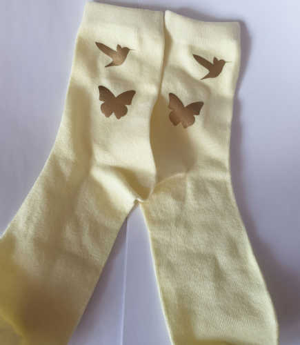 Girls  ankle socks mocking bird  and butterfly design logo size 12-3)